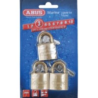 Abus Locks, Padlock Brass 1-1/4 Key 3/Cd, 56413
