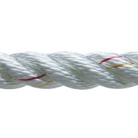 New England Ropes Inc, 3 Strand Nylon Dockline, 1/2 x 25 White, 60501600025