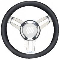 Uflex, Foscari Steering Wheels, Black Vinyl Chrome, FOSCARIVCHB