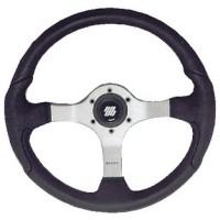 Uflex, Nisida Steering Wheel, Polished Silver-Black Grip, NISIDABP