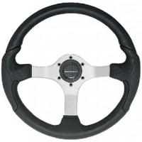 Uflex, Nisida Steering Wheel, Silver-Black Grip, NISIDABS