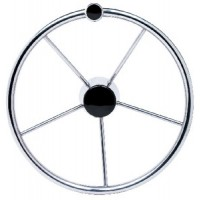 Seachoice, SS Destroyer Steering Wheel w/Turning Knob & Black Cap, 28541