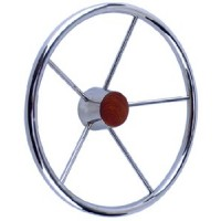 Seachoice, SS Destroyer Steering Wheel w/Teak Cap, 28551