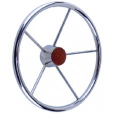 Seachoice, SS Destroyer Steering Wheel w/Teak Cap, 28551