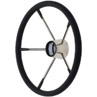 Seachoice, SS Destroyer Steering Wheel w/Foam Grip & Black Cap, 28581