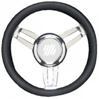 Uflex, Foscari Steering Wheels, Black Vinyl Chrome, FOSCARIVCHB