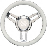 Uflex, Foscari Steering Wheels, Wht Vinyl Chrome, FOSCARIVCHW