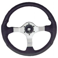 Uflex, Nisida Steering Wheel, Polished Silver-Black Grip, NISIDABP
